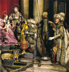 fig. 3. Kongerne tilbeder Maria, detalje fra julekrybbe med napolitanske figurer, ca. 1760 (ca. 20 cm høje). Bayerisches Nationalmuseum.